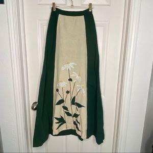 1970's linen blend maxi skirt